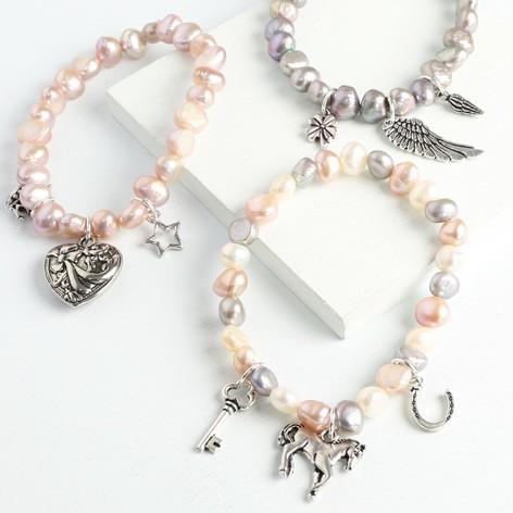 Freshwater Pearl & Silver Charm Bracelet