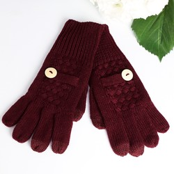 Wine Red Touch Screen Gloves with Button Detail