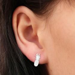 Silver Pineapple Stud Earrings