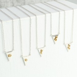 Silver Triangle Necklace with Gold Initial