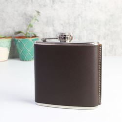 Kikkerland 6oz Leather Hip Flask