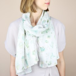 Illustrated Watercolour Cactus Cotton Scarf