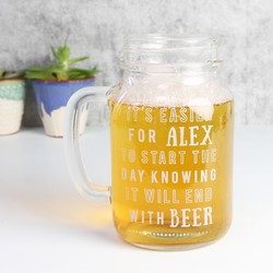 Engraved Large Beer Lover's Mason Jar