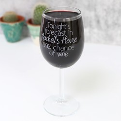 Personalised Engraved Wine Lover's 'Forecast' Wine Glass