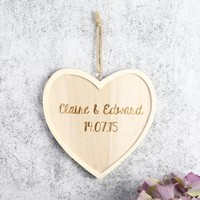 Small Personalised Wooden Hanging Heart