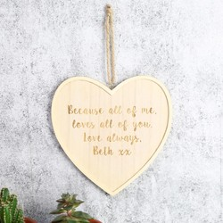 Medium Personalised Wooden Hanging Heart