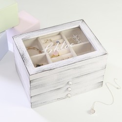 Personalised Wooden Three Drawer Jewellery Box