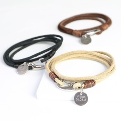 Men's Personalised Layered Wrap Bracelet with Shrimp Clasp