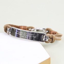 Men's Personalised Suede Cord Bracelet with Stainless Steel Bar