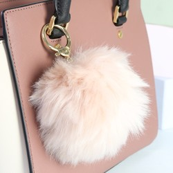 Faux Fur Pom Pom Keyring or Bag Charm in Natural