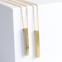 Personalised Solid 9ct Gold Bar Necklace