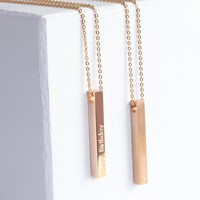 Personalised Solid 9ct Rose Gold Bar Necklace