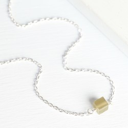 Orelia Semi-Precious Single Cube Necklace