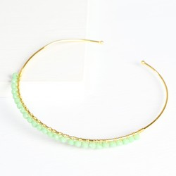 Orelia Sea Green Bead Bangle in Gold