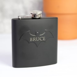Personalised Batman Hip Flask in Matt Black