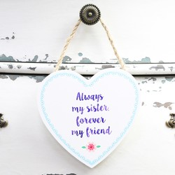 Sass & Belle 'Always My Sister' Hanging Wooden Heart