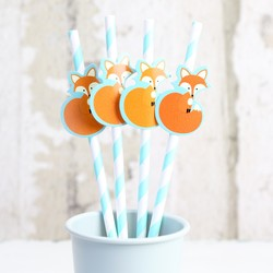 Pack of 4 Stripe Fox Party Straws