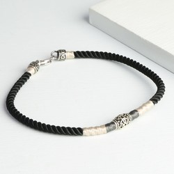 Black Cord and Etched Sterling Silver Bead Bracelet