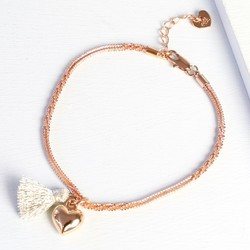 Rose Gold Twisted Chain Bracelet with Heart Charm