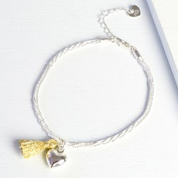 Silver Twisted Chain Bracelet with Heart Charm