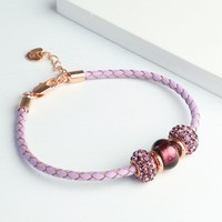 Sparkly Gem Bead & Braided Purple Leather Bracelet