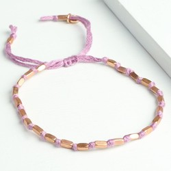 Lilac Knot and Bead Friendship Bracelet