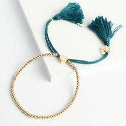 Dainty Links Bracelet in Green & Gold