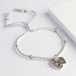 Personalised Double Heart Bead & Crystal Bracelet