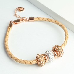 Sparkly Gem Bead & Braided Rose Gold Leather Bracelet