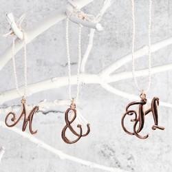Rose Gold Hanging Letter Charm Decoration