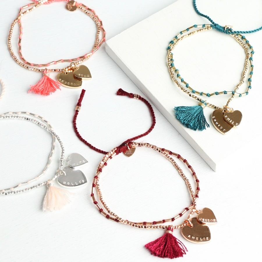 ... Heart Tassel Friendship Bracelet | Personalised Jewellery | Lisa Angel