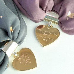 Personalised Silver & Gold Heart Scarf Ring