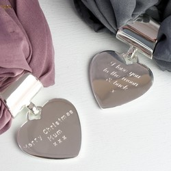 Personalised Silver Heart Scarf Ring