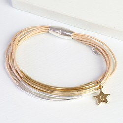 Multi-Strand Leather Mixed Metal Tube Bracelet with Initial Charm