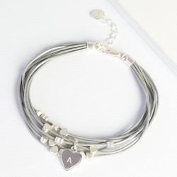 Multi-Strand Dainty Heart Bracelet with Initial Charm