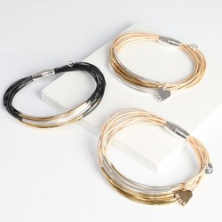 Personalised Multi-Strand Leather Mixed Metal Tube Bracelet