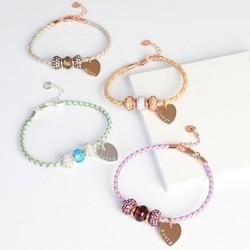 Personalised Sparkly Gem Bead & Braided Leather Bracelet