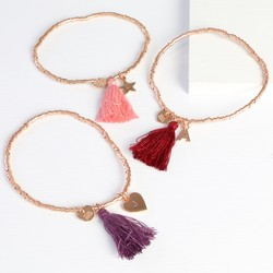 Birthday Tassel Bracelet in Rose Gold with Initial Charm