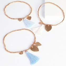 Personalised Double Heart Birthday Tassel Bracelet in Rose Gold