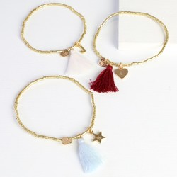 Birthday Tassel Bracelet in Gold with Initial Charm