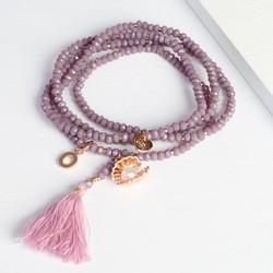 Pearl & Tassel Wrap Bracelet with Initial Charm
