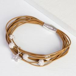 Multi-Strand Sparkly Gem Bracelet with Initial Charm