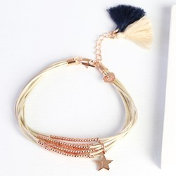 Slim Multi-Strand Leather and Bead Tassel Bracelet with Initial Charm