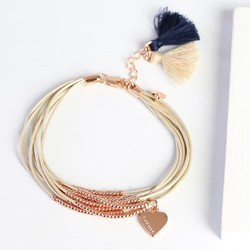 Personalised Slim Multi-Strand Leather and Bead Tassel Bracelet