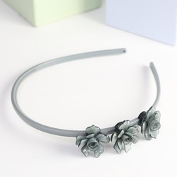 Acrylic Rose Hairband in Grey