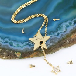 Personalised Long Double Star Y Necklace in Gold