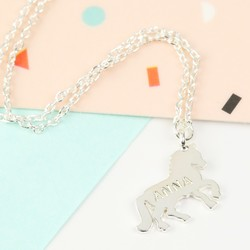 Personalised Short Flat Silver Horse Necklace