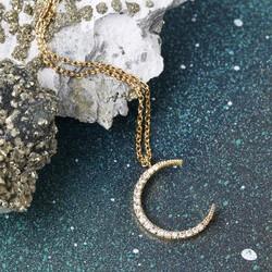 Gold Diamante Crescent Moon Necklace