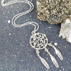 Long Silver and Labradorite Dreamcatcher Necklace