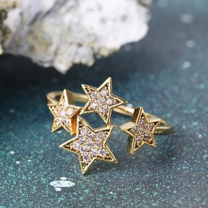 Diamanté Star Adjustable Ring